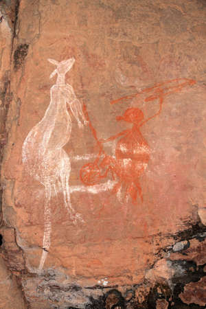australian outback: Aboriginal rock art - Kangaroo - at Nourlangie, Kakadu National Park, Northern Territory, Australia