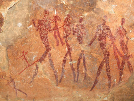 Bushmen (san) rock painting depicting human figures, South Africa  Stok Fotoğraf