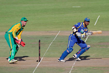 Bloemfontein, South Africa - January 17, 2012 - AB de Villiers (SA) and K Sangakkara (SL) during an one-day cricket match between South Africa and Sri Lanka (SA won the match)