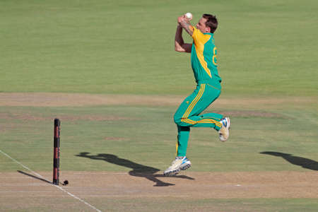 Bloemfontein, South Africa - January 17, 2012 - Dale Steyn (SA) in action during an one-day cricket match between South Africa and Sri Lanka (SA won the match)
