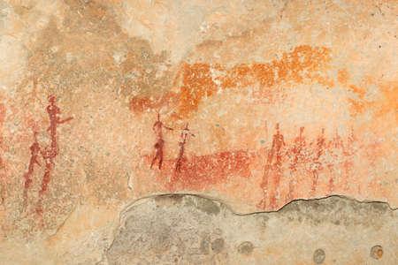 rock painting: Bushmen - san - rock painting depicting human figures, South Africa Stock Photo