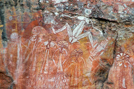aborigen: Aborigen arte rupestre en Nourlangie, Parque Nacional de Kakadu, Territorio del Norte, Australia