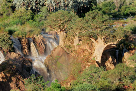 namibia: View of the Upupa falls in the Kunene river that forms the border between Namibia and Angola, southern Africa Stock Photo