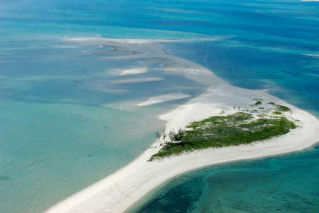 aerial views: Aerial view of small tropical island of the coast of Mozambique, southern Africa  Stock Photo
