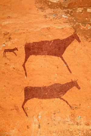 サン-のブッシュマン族ロック カモシカ、ドラケンスバーグ山脈、南アフリカ共和国の絵画
