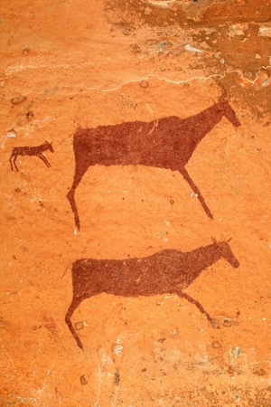 부시맨 - 산 - 영양의 바위 그림, 드라 켄스 버그 산맥, 남아프리카 공화국 스톡 콘텐츠