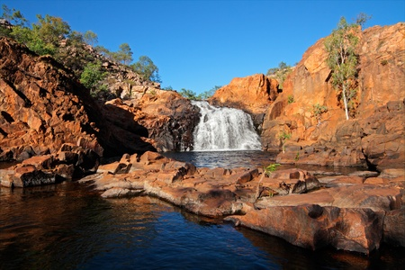 Small waterfall and pool with clear water, Kakadu National Park, Northern Territory, Australia