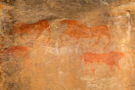 Bosjesmannen - san - rock schilderij van antilopen, regio Karoo, Zuid-Afrika Stockfoto - 39385221