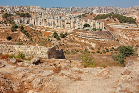View from Shepherds Field of the Palestinian town of Beit Sahour, Israel Stok Fotoğraf