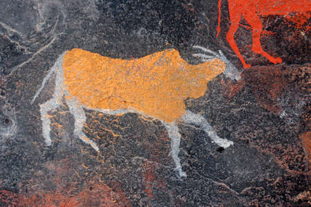 Bushmen (san) rock painting of an eland antelope, South Africa
