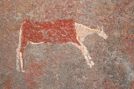 Bushmen (san) rock painting of an antelope, South Africa Stock Photo