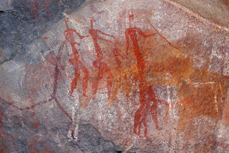 Bushmen (san) rock painting of human figures, South Africa