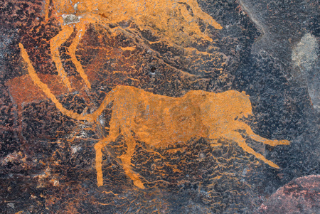 Bushmen (san) rock painting of a cheetah, South Africa Stock Photo