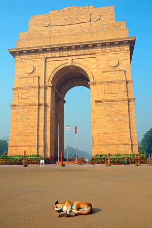 Architectural detail of the war memorial, India Gate - New Delhi, India Imagens