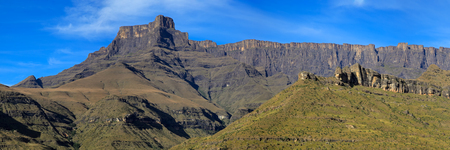 Panoramic view the amphitheater of the Drakensberg mountains, Royal Natal National Park, South Africa