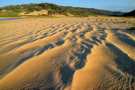 Scenic beach early morning with wind-blown patterns in the sand, South Africa Imagens