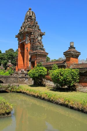 Architecture at the Royal Temple of Tamun Ayun with lush gardens, Canggu, Balie, Indonesia