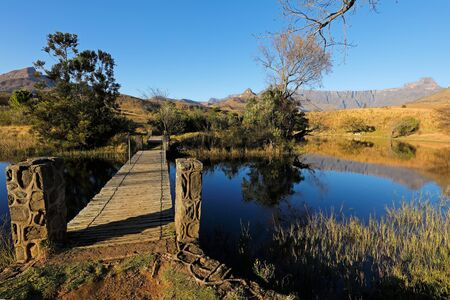 Scenic pond against a backdrop of the Drakensberg mountains, Royal Natal National Park, South Africa