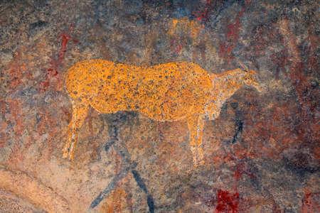 Bushmen (san) rock painting of an eland antelope, South Africa Stock Photo - 152604319