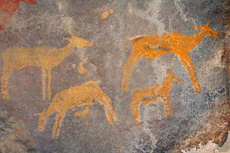 Bushmen (san) rock painting of African antelopes, South Africa Stock Photo