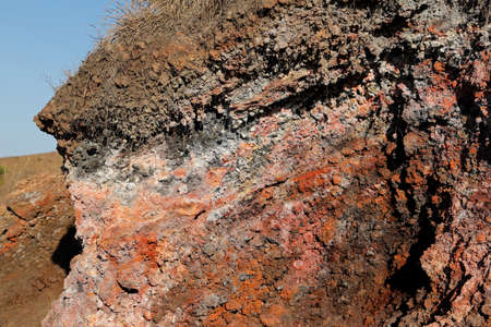 Eroded igneous lava rock on mount Batur (Kintamani volcano), Bali, Indonesia Stock Photo - 154907090