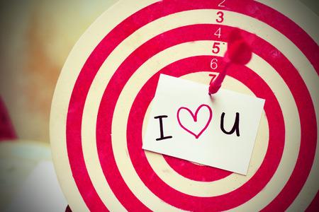 i love u: i love u wording on dartboard
