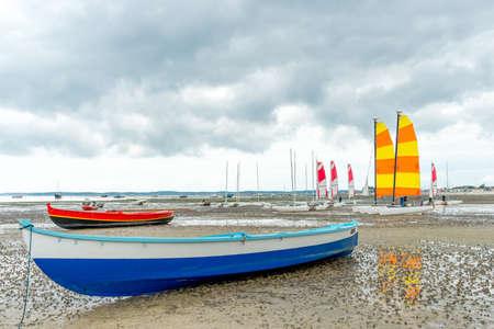 Andernos Les Bains, Arcachon Bay, France, boats at low tide Stock Photo