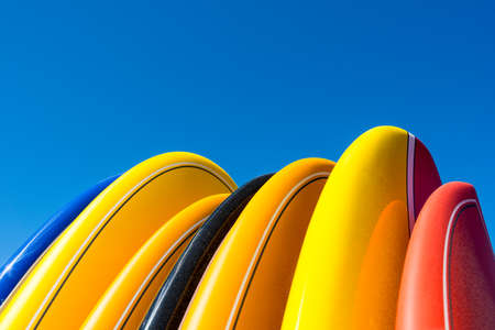 Colored surfboards in Cap Ferret, France Stock Photo