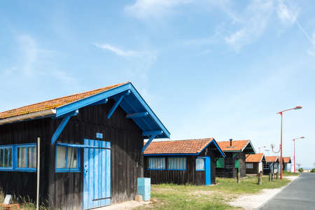 Arcachon Bay (France), oyster huts of the Hume harbor, in Gujan-Mestras, near Arcachon