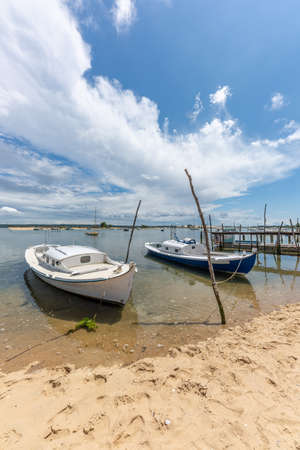 Cap Ferret, France, traditional boats of the Arcachon Bay called 'pinasses' Banque d'images - 103835375