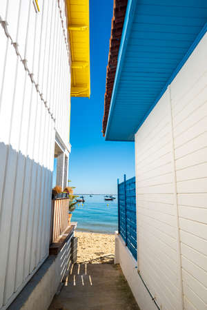 Arcachon Bay, France. Fishers house in the village of 'The Grass' Banque d'images - 114913330
