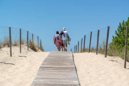 Arcachon Bay, France. Access to the beach Salie close to the dune of Pilat