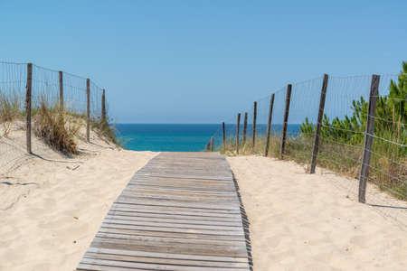 Arcachon Bay, France. Access to the beach near the dune of Pilat 스톡 콘텐츠