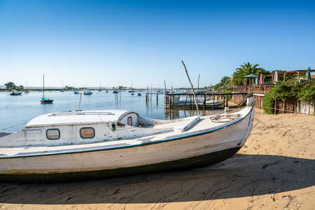 Traditional boat called Pinasse in Cap Ferret on the Arcachon Bay, France 스톡 콘텐츠