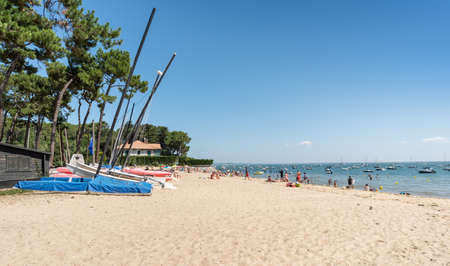 A small beach in Cap Ferret on the Arcachon Bay, France 스톡 콘텐츠