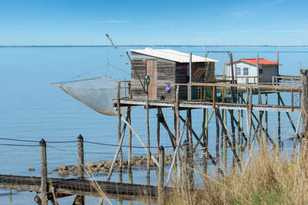 Fouras, in Charente Maritime. Traditional fishing hut on stilts called Carrelet between Rochefort and La Rochelle
