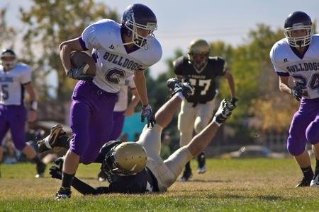 football teams: Northglenn, CO- October 23, 2011: Elbert High School vs Rocky Mountain Lutheran High School