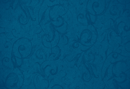 stylish modern blue swirl texture or background with lovely floral and vine curls and patterns Archivio Fotografico