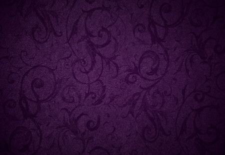 purple lilac: stylish royal purple swirl texture or background with lovely floral and vine curls and patterns and subtle vignette
