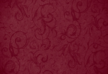 stylish dark red swirl texture or background with lovely floral and vine curls and patterns