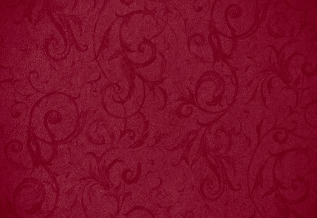 crimson colour: stylish red swirl texture or background with lovely floral and vine curls and patterns Stock Photo