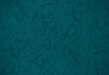 painterly: stylish teal swirl texture or background with lovely floral and vine curls and patterns