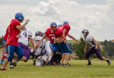 school sports: Cripple Creek, CO, 08312013, Football game: Elbert High School versus Cripple Creek-Victor High School Editorial
