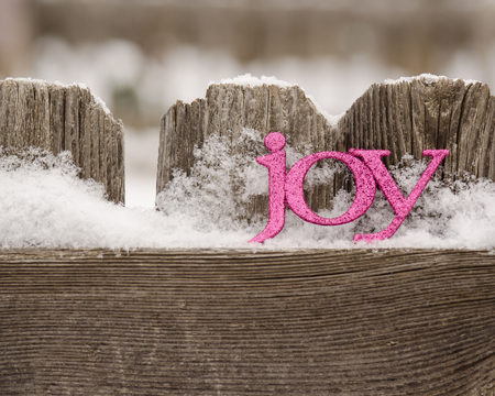pink letters spell joy on snowy rustic fence2 Archivio Fotografico