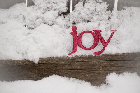 red letters spell joy in snow with vignette Archivio Fotografico