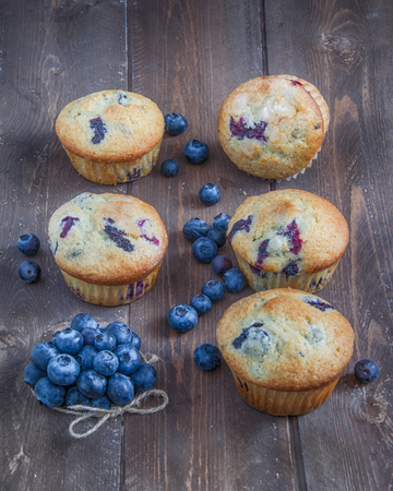 several blueberry muffns with fresh berries Archivio Fotografico