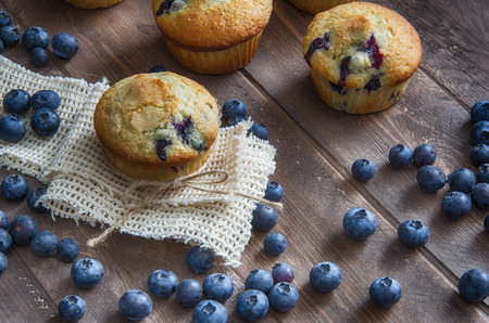 Blueberry muffins with dramatic lighting Archivio Fotografico