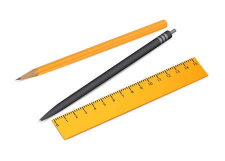 Stationery items  Pen, pencil and ruler Vector
