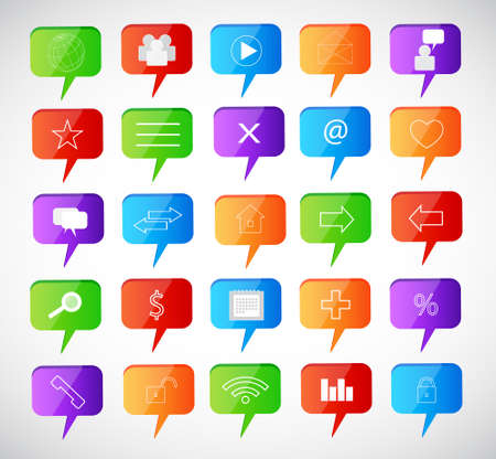 family discussion: Set of speech bubbles  Social icons Illustration