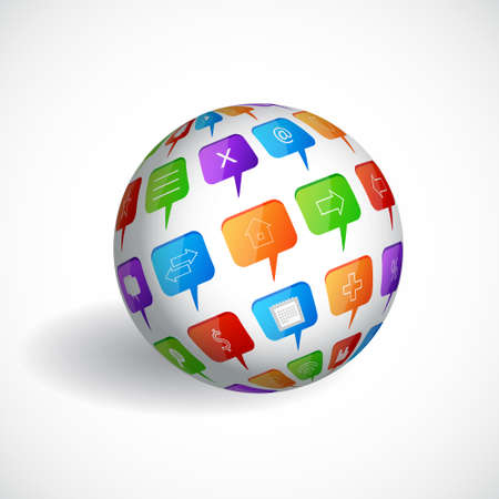 Sphere with social speech bubbles Vector